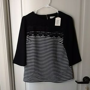 Black Striped 3/4 sleeves lace blouse 3/4 sleeve